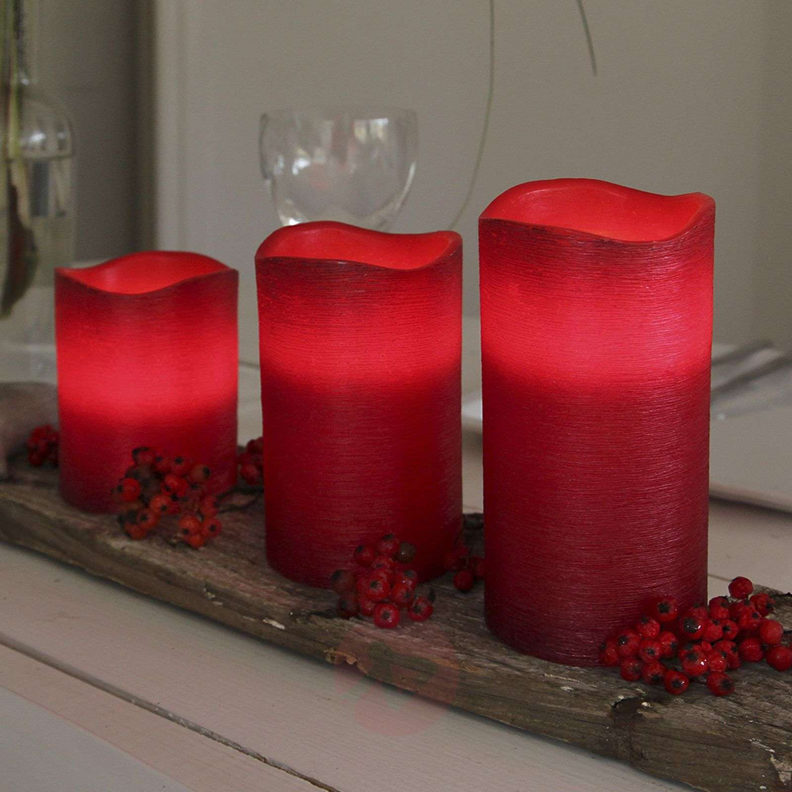Real waxLED candle Linda structured red 12.5 cm-1522545-01