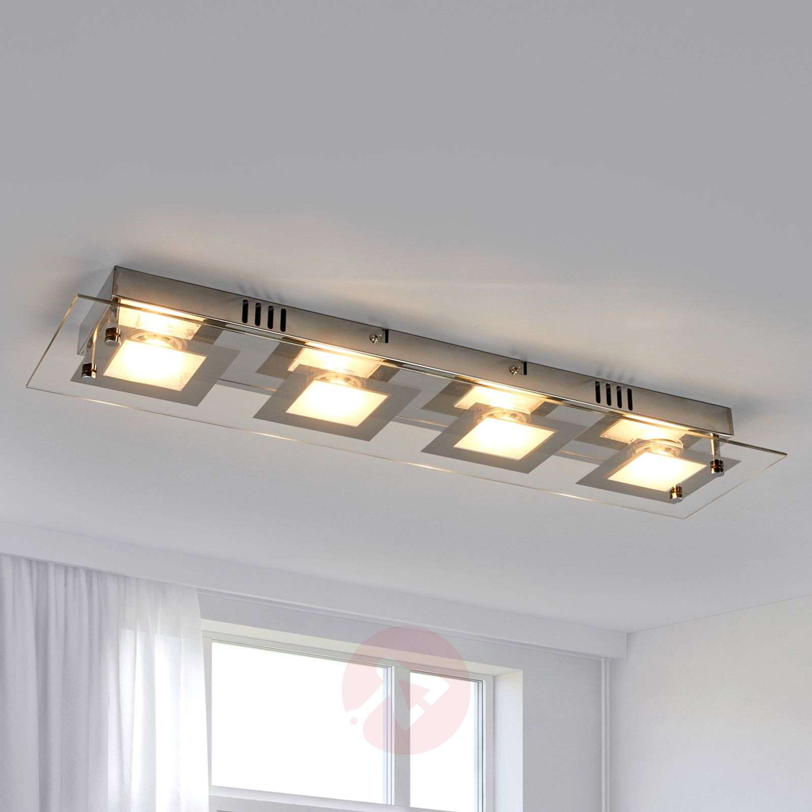 Rectangular LED Ceiling Light Manja With Chrome