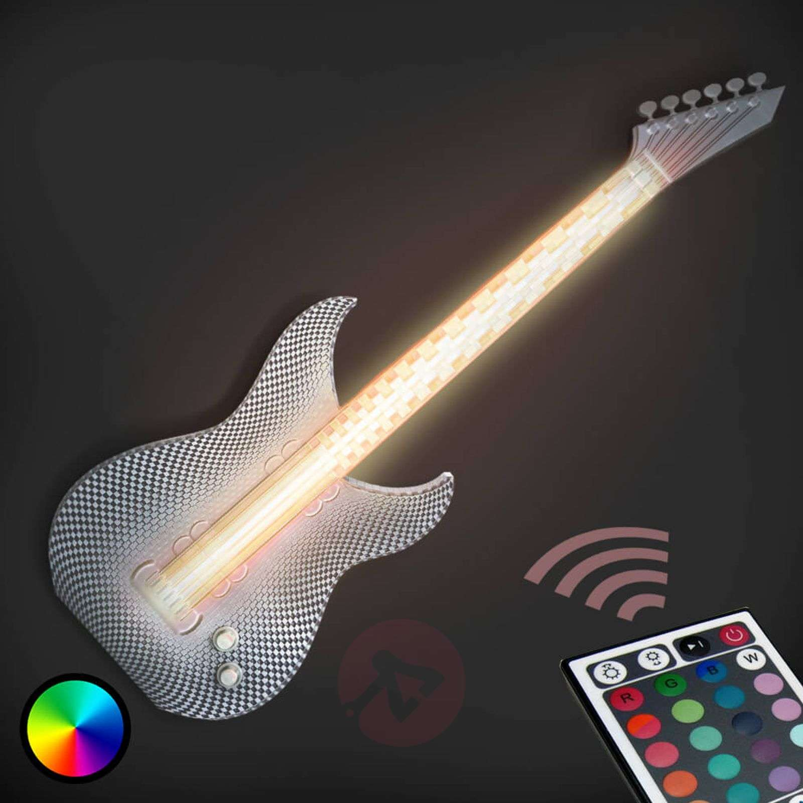 rocky guitar led wall light made by 3d printer. Black Bedroom Furniture Sets. Home Design Ideas