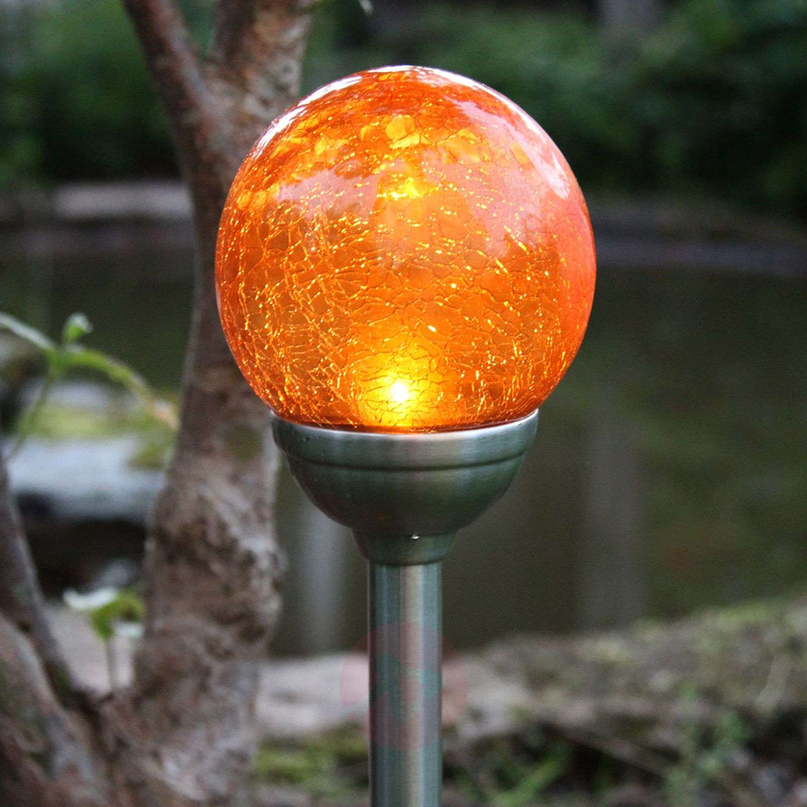 Roma Solar Ground Spike Light With Amber Led Lights Co Uk