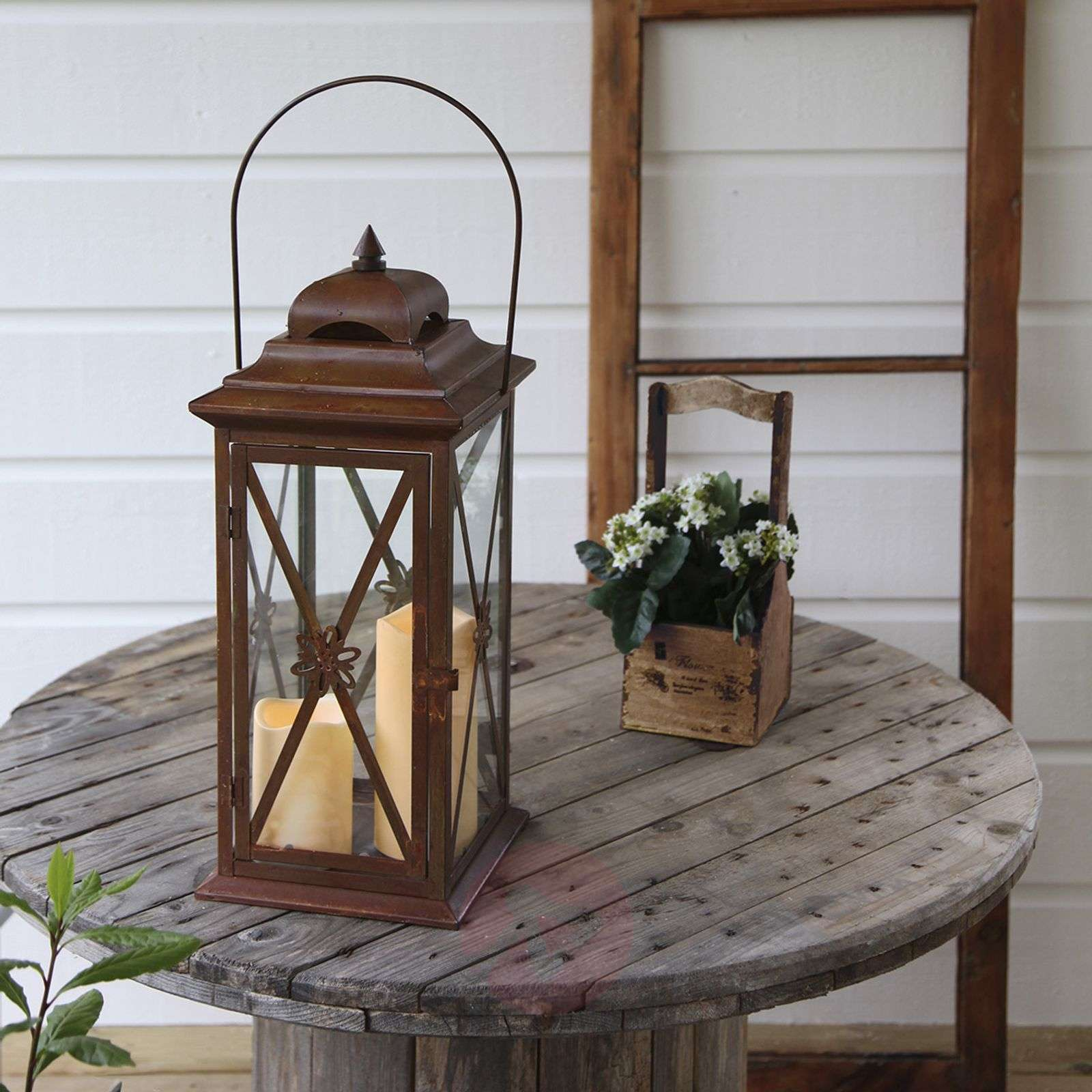 Rust-copper-coloured Lantern with 2 LED candles-1522552-01