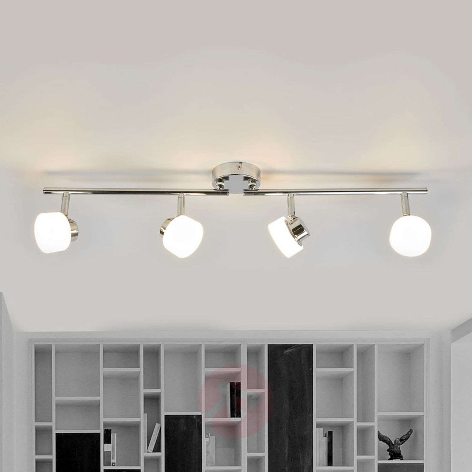 Shia LED ceiling lamp with chrome frame | Lights.co.uk