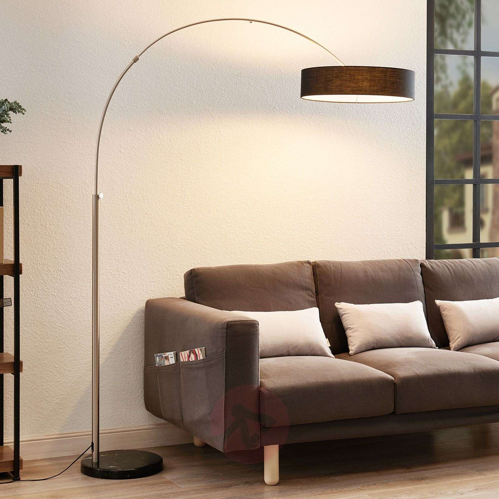Shing Fabric Floor Lamp With A Black Lampshade Lights Co Uk