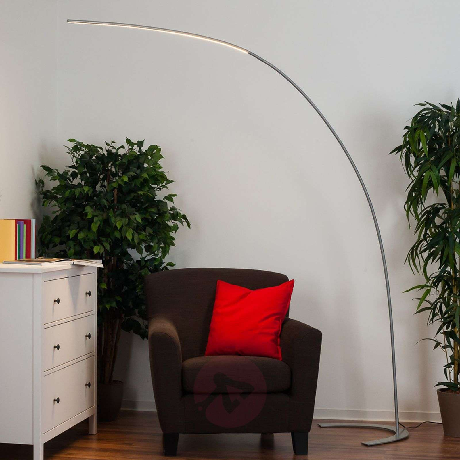 Silver Coloured Arc Shaped Led Floor Lamp Danua Lights