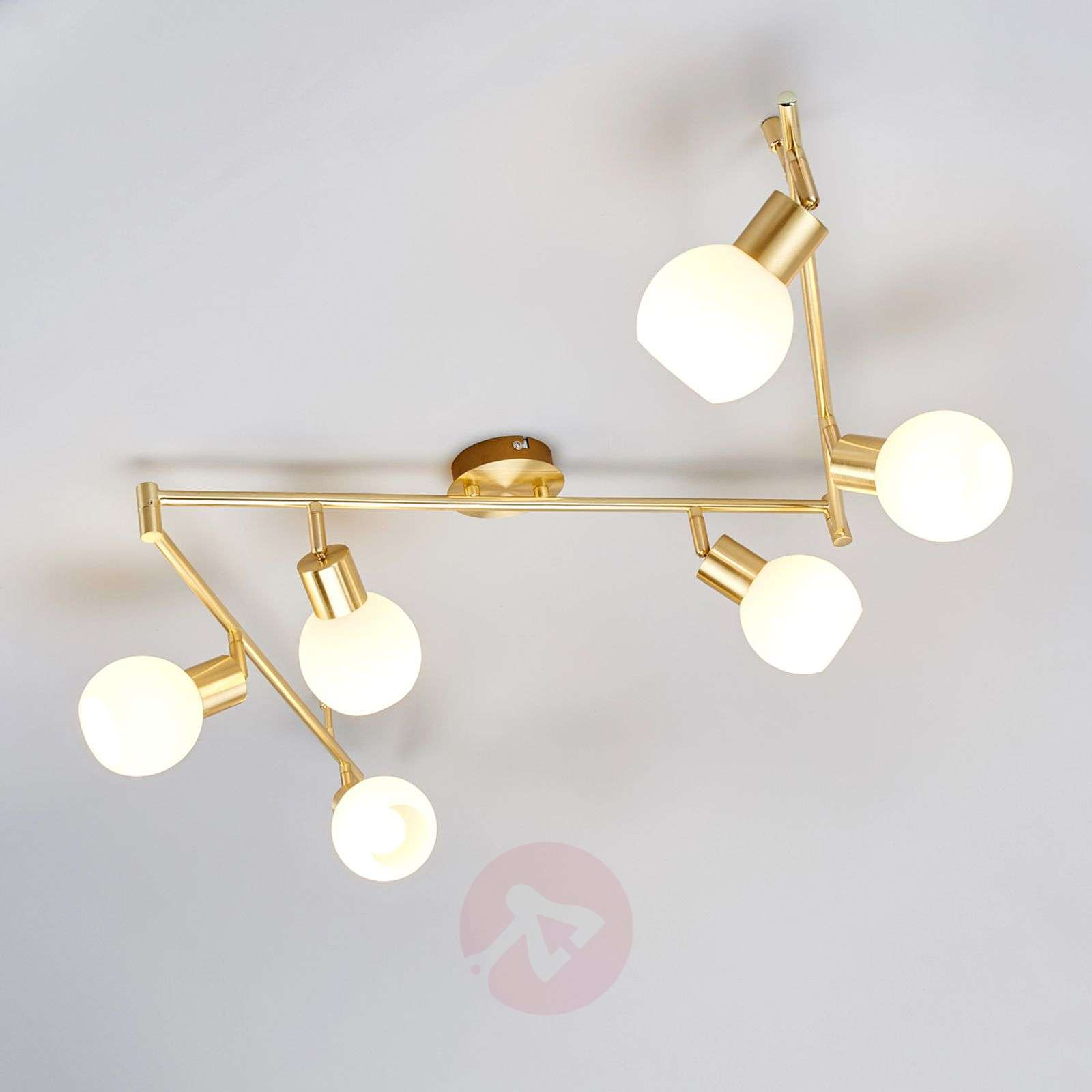 Led Ceiling Lights Brass : Six bulb led ceiling light elaina brass lights