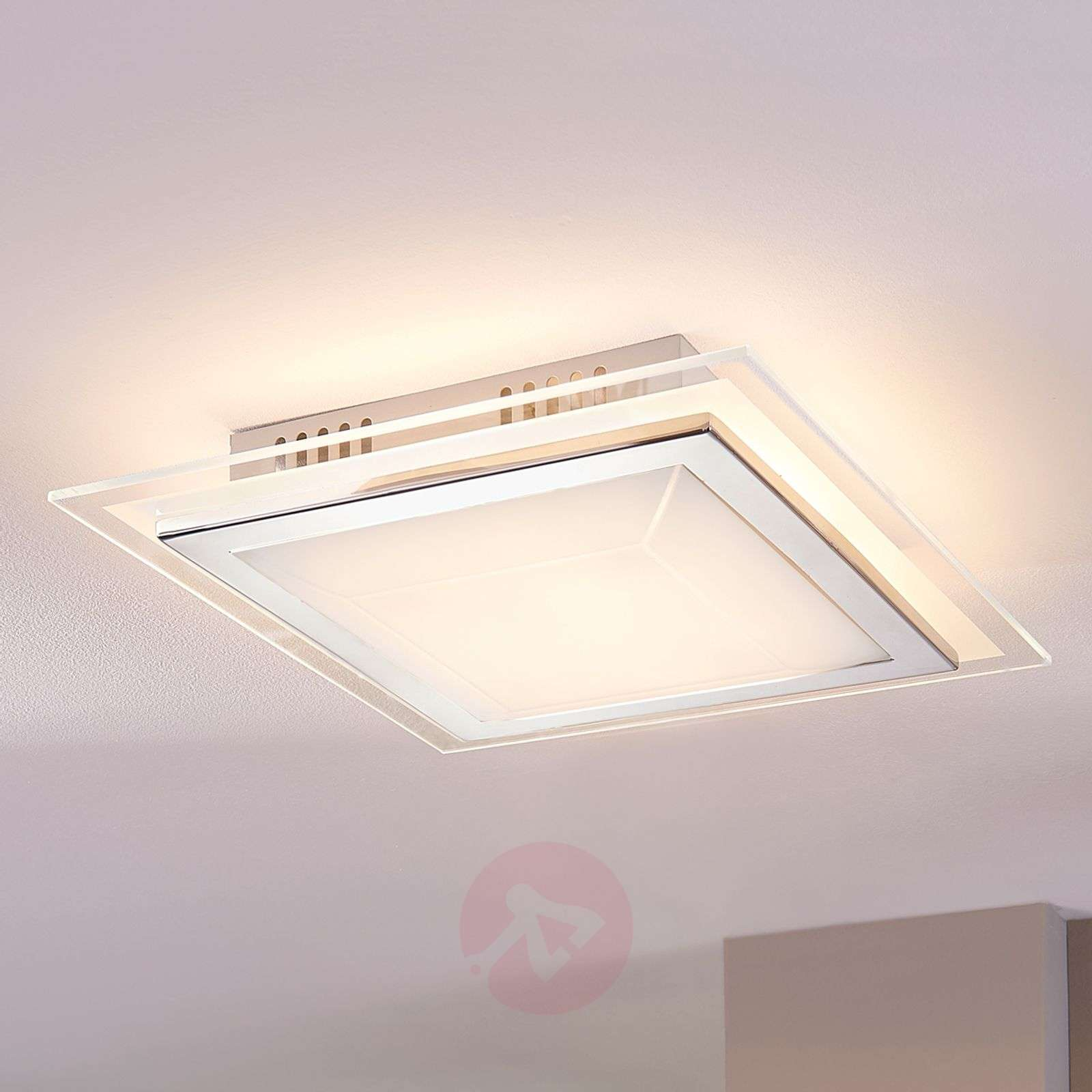 Square glass ceiling light alessio with led lights square glass ceiling light alessio with led 9620891 024 aloadofball Images