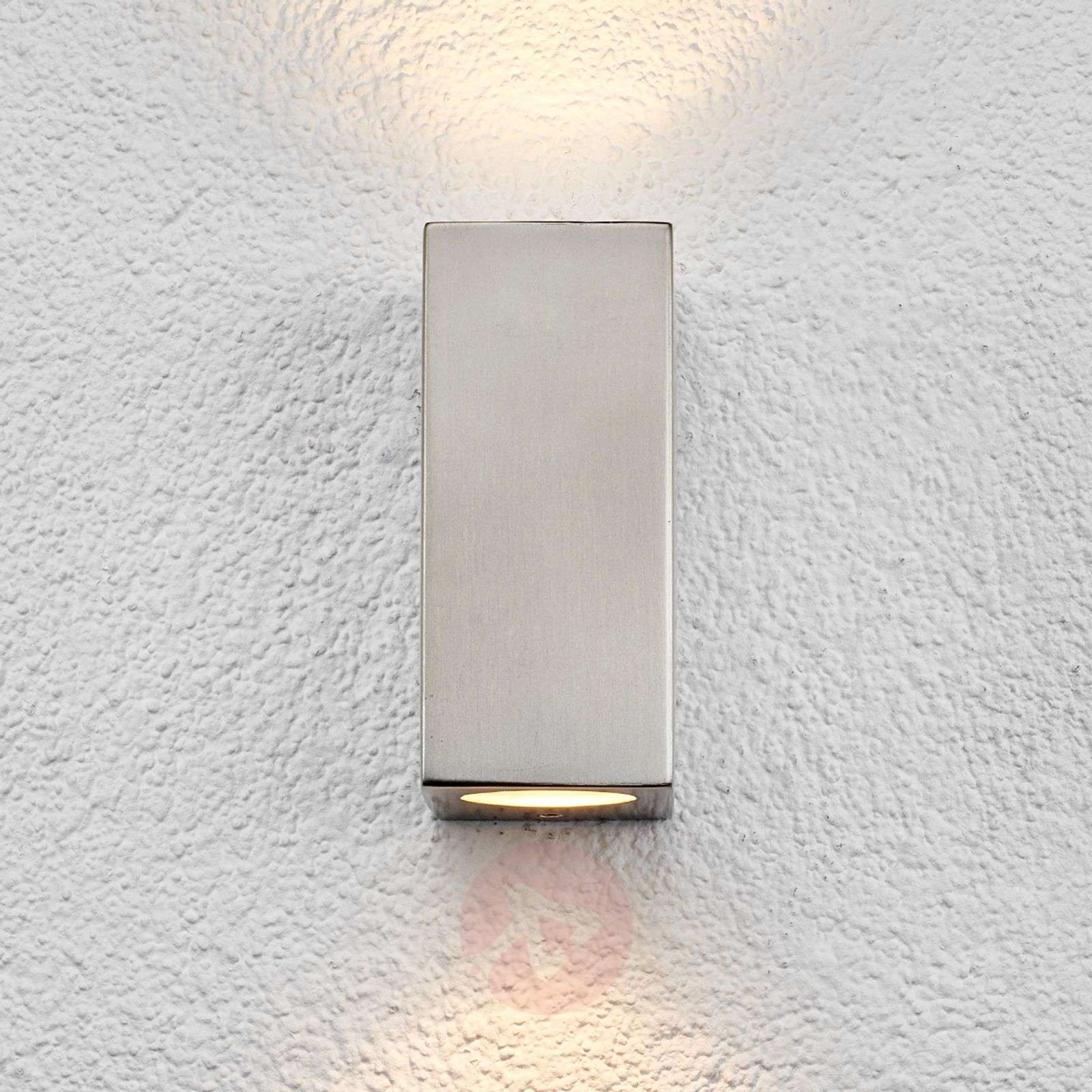 Square outdoor wall light Haven, stainless steel Lights.co.uk