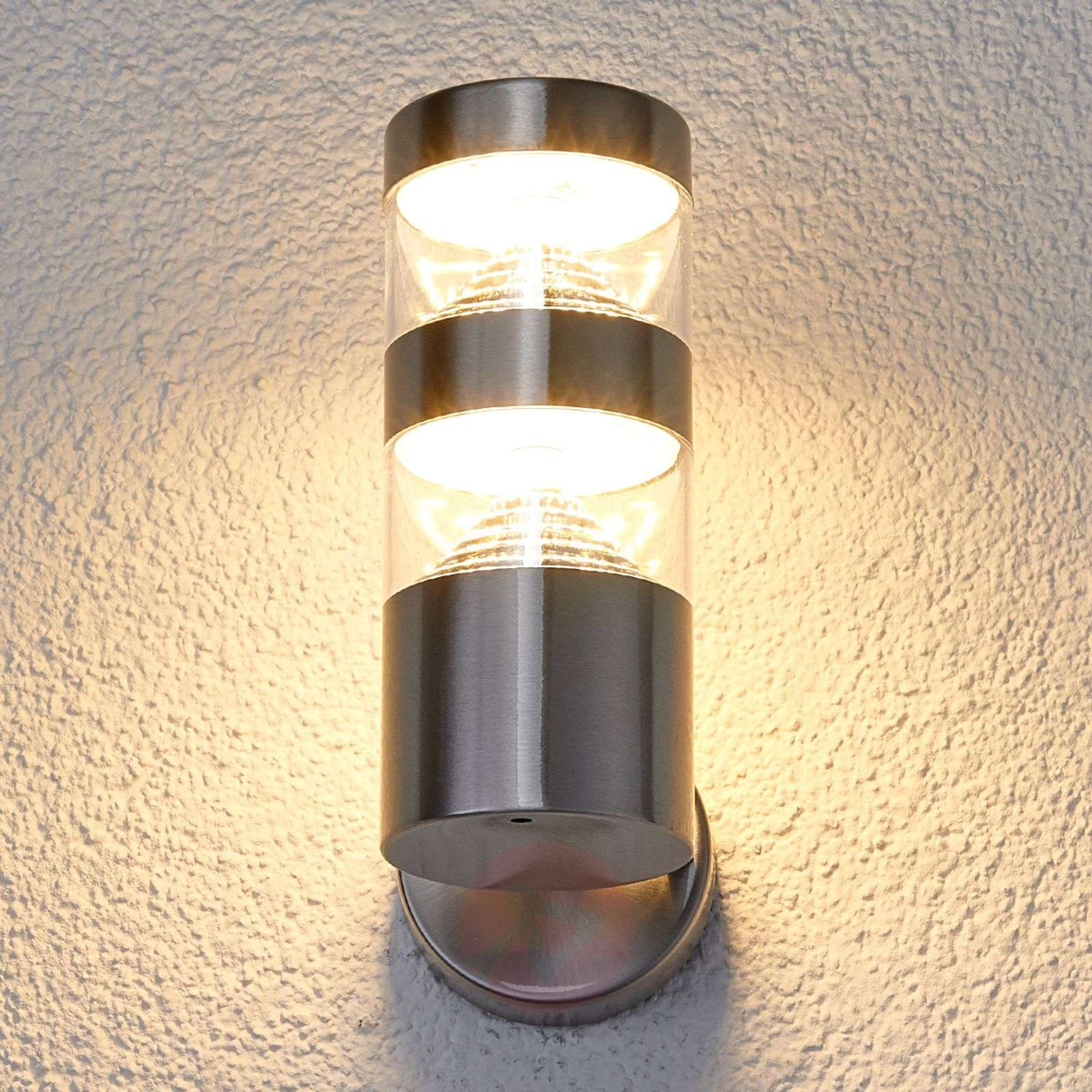 Stainless steel LED outdoor wall light Lanea | Lights.co.uk