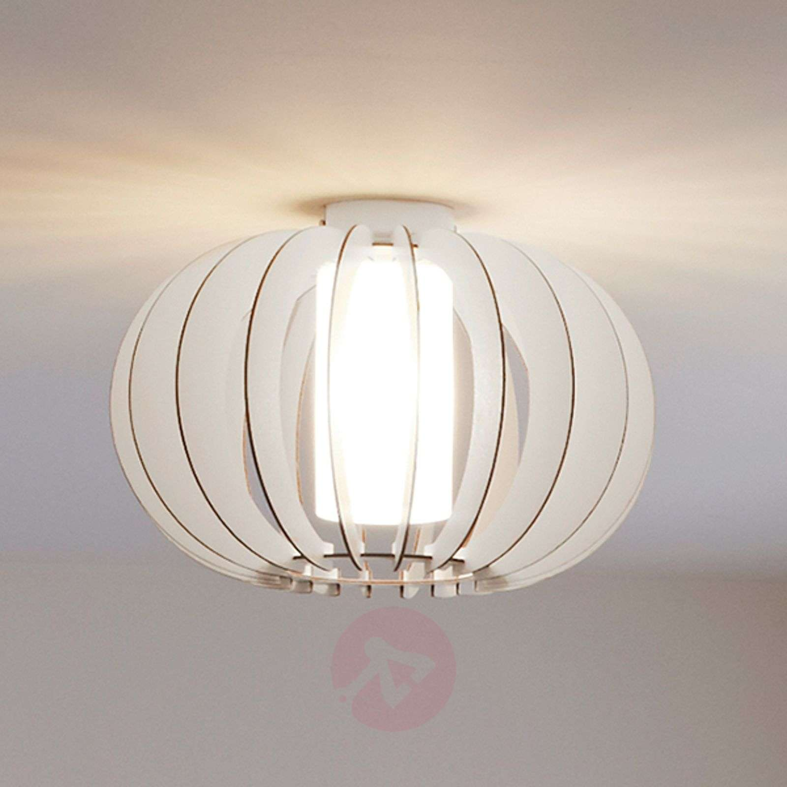 White Ceiling Lights: Stellato - Round Wood Ceiling Light In White