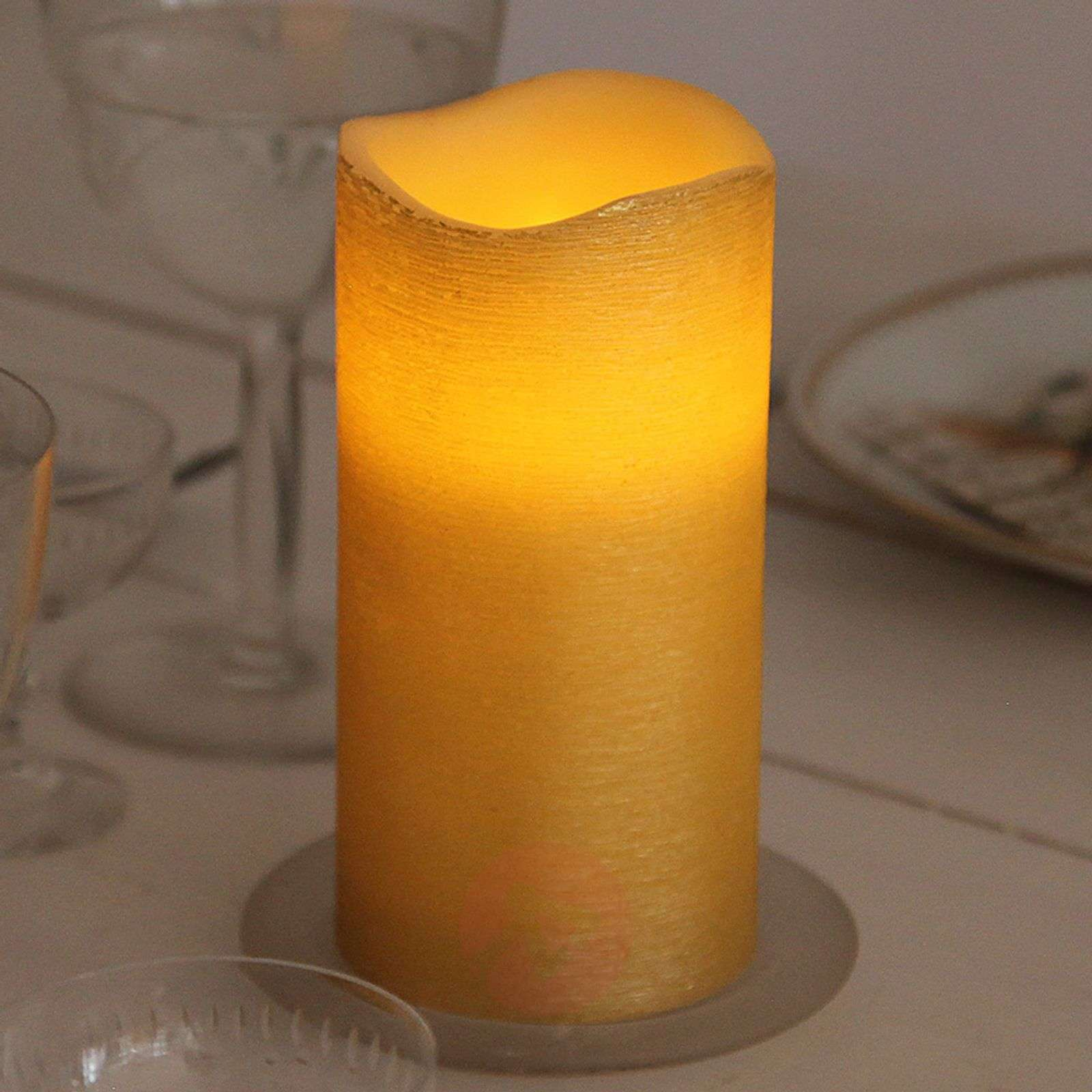 Structured real wax LED candle Linda 15 cm-1522541-01