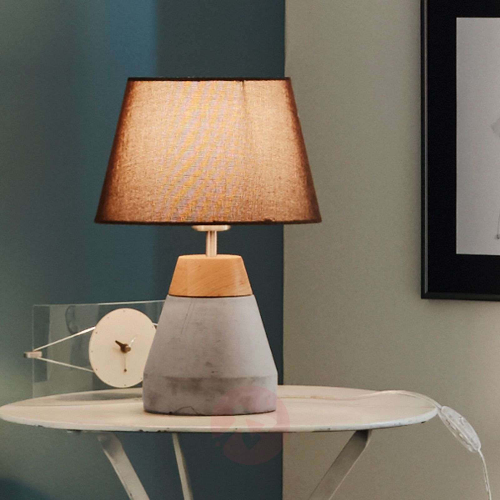 Stylish Tarega fabric table lamp, concrete base-3031819-01