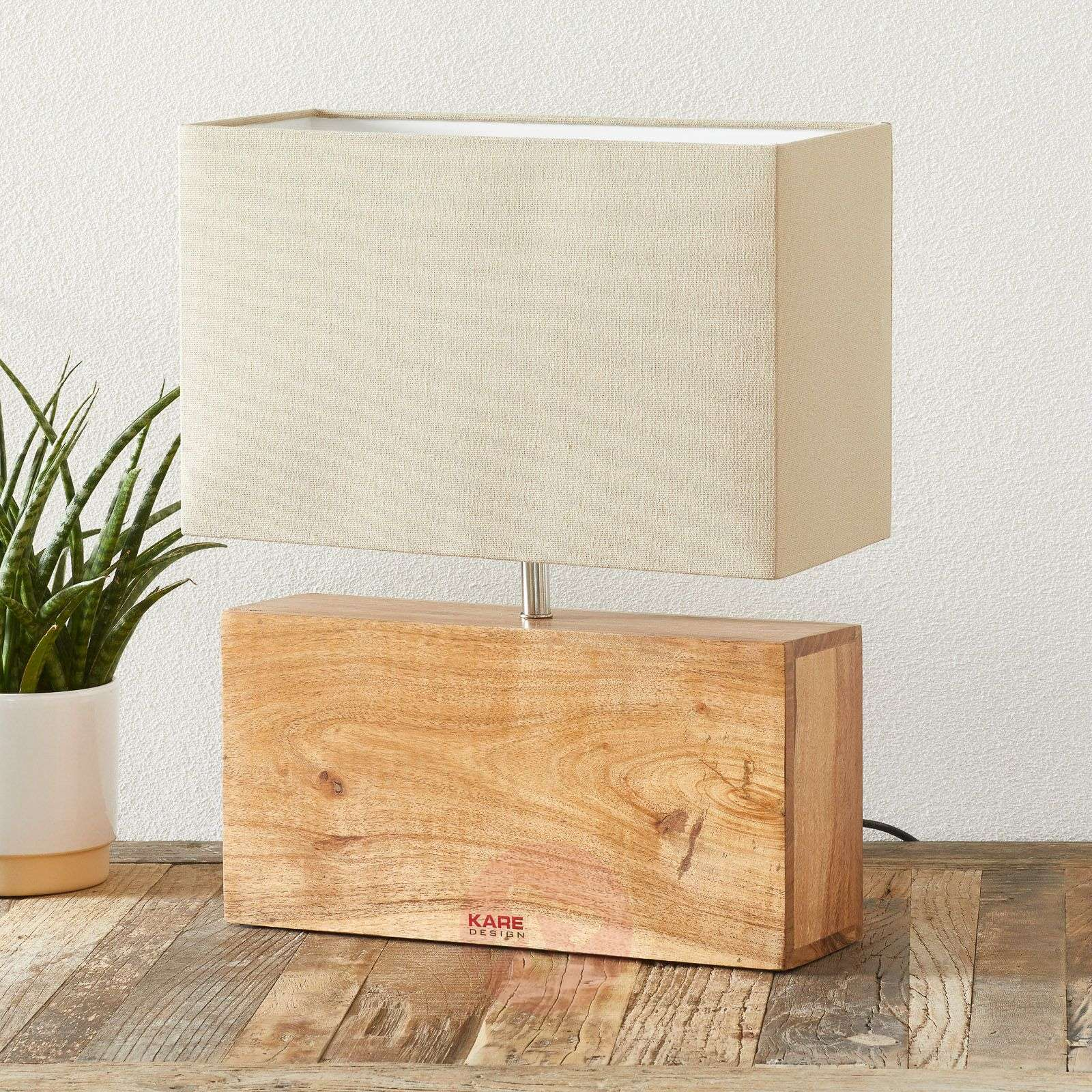 Table Lamp Rectangular Wood With Wooden Base Lights Co Uk