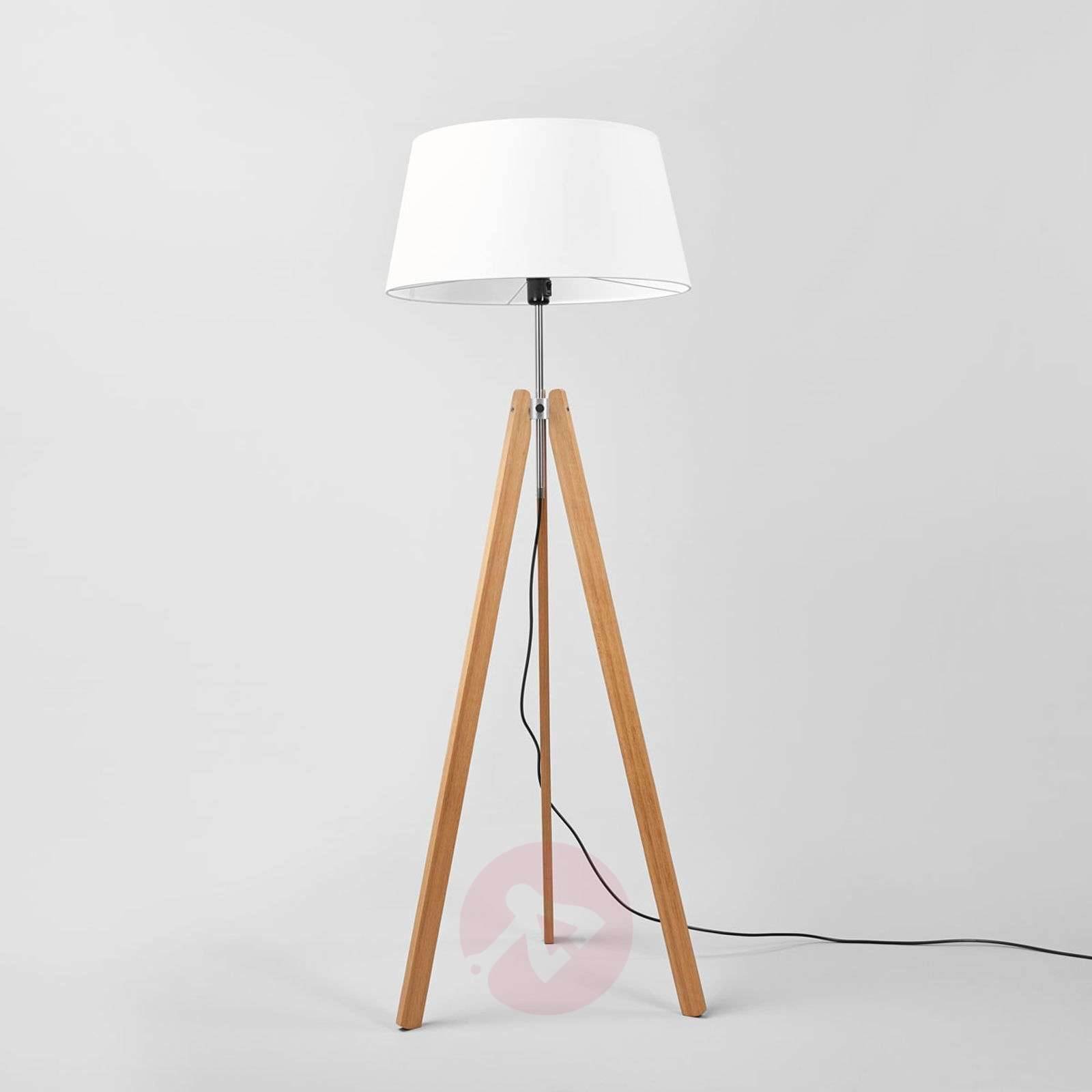 Textile Floor Lamp Thea With An Oak Frame Lights Co Uk