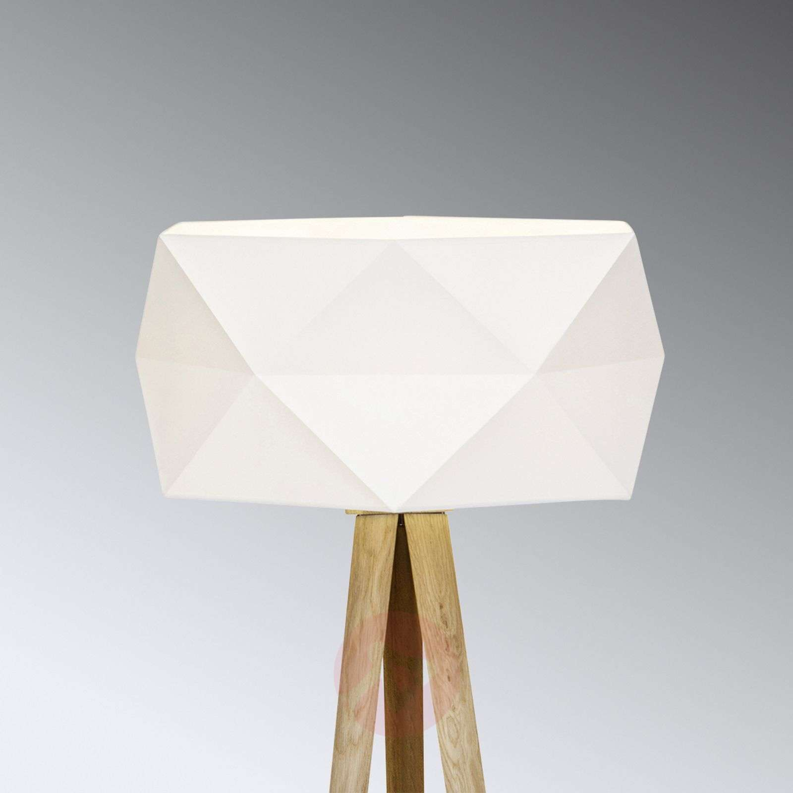 Tripod Floor Lamp Polygon With Fabric Lampshade Lights Co Uk