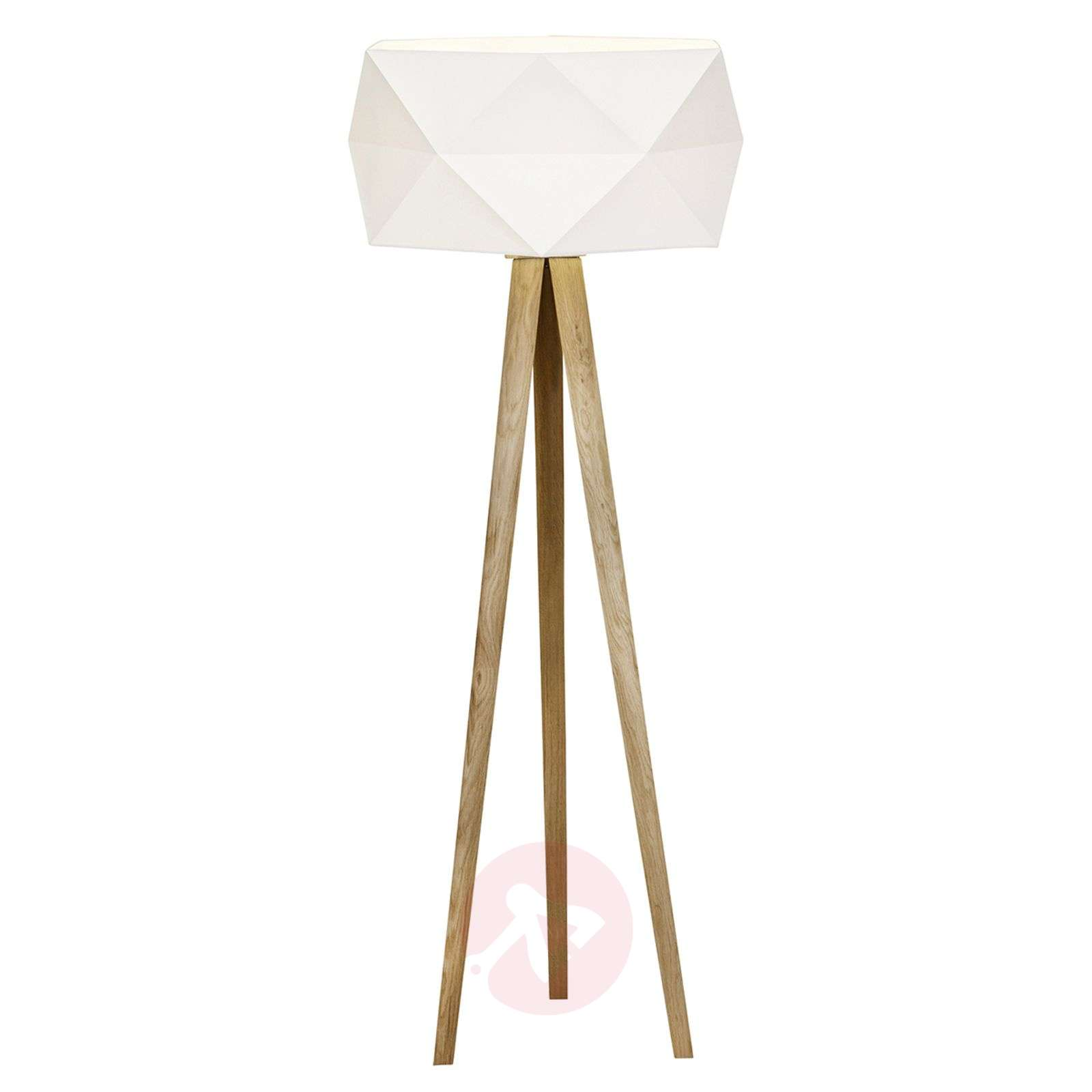 Tripod floor lamp Polygon with fabric lampshade