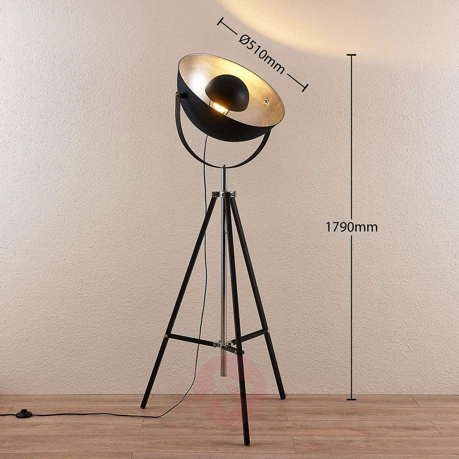 Tripod Led Floor Lamp Muriel Wifi Black Silver Lights Co Uk
