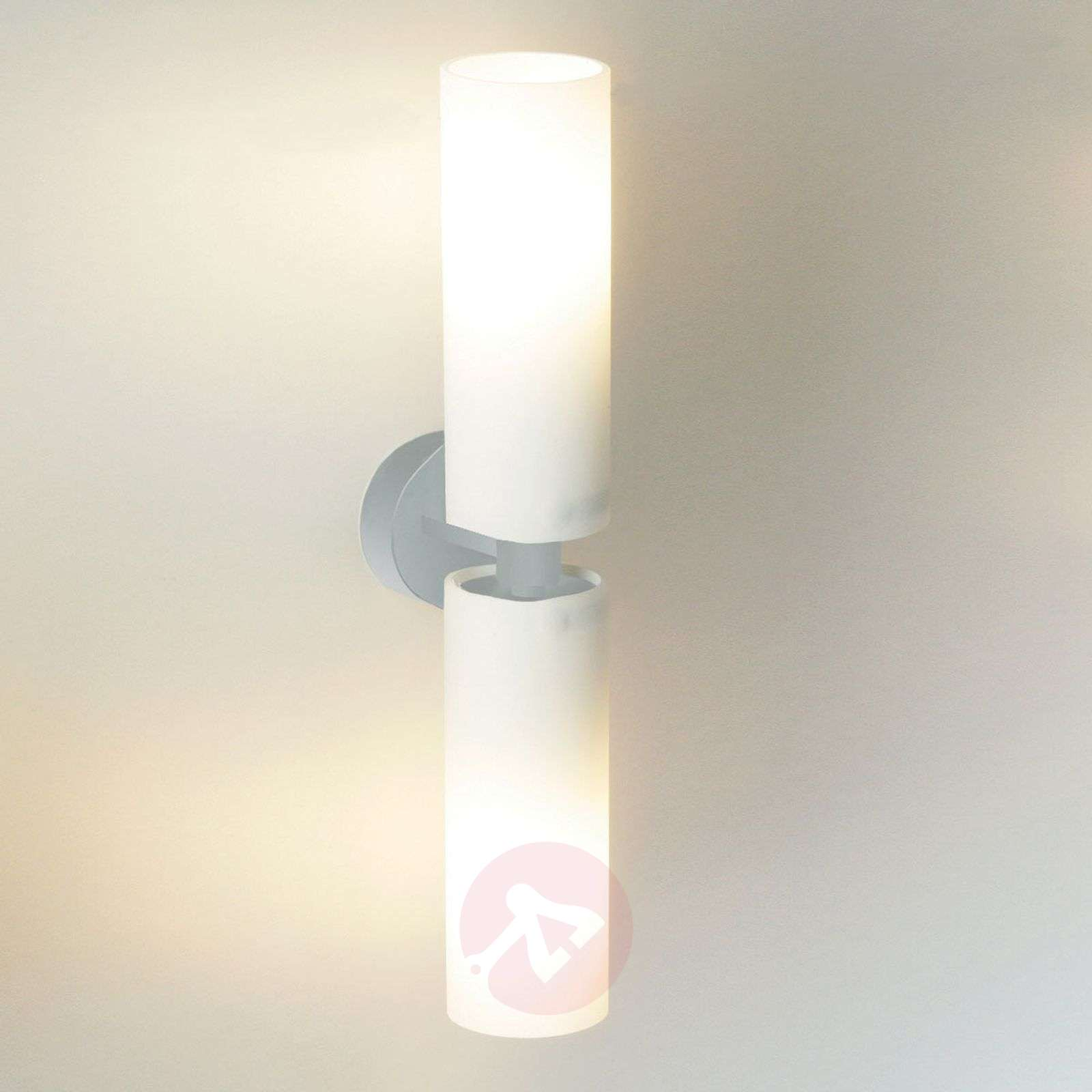 Tube Twin Double Wall Light In Frosted Glass Lights Co Uk