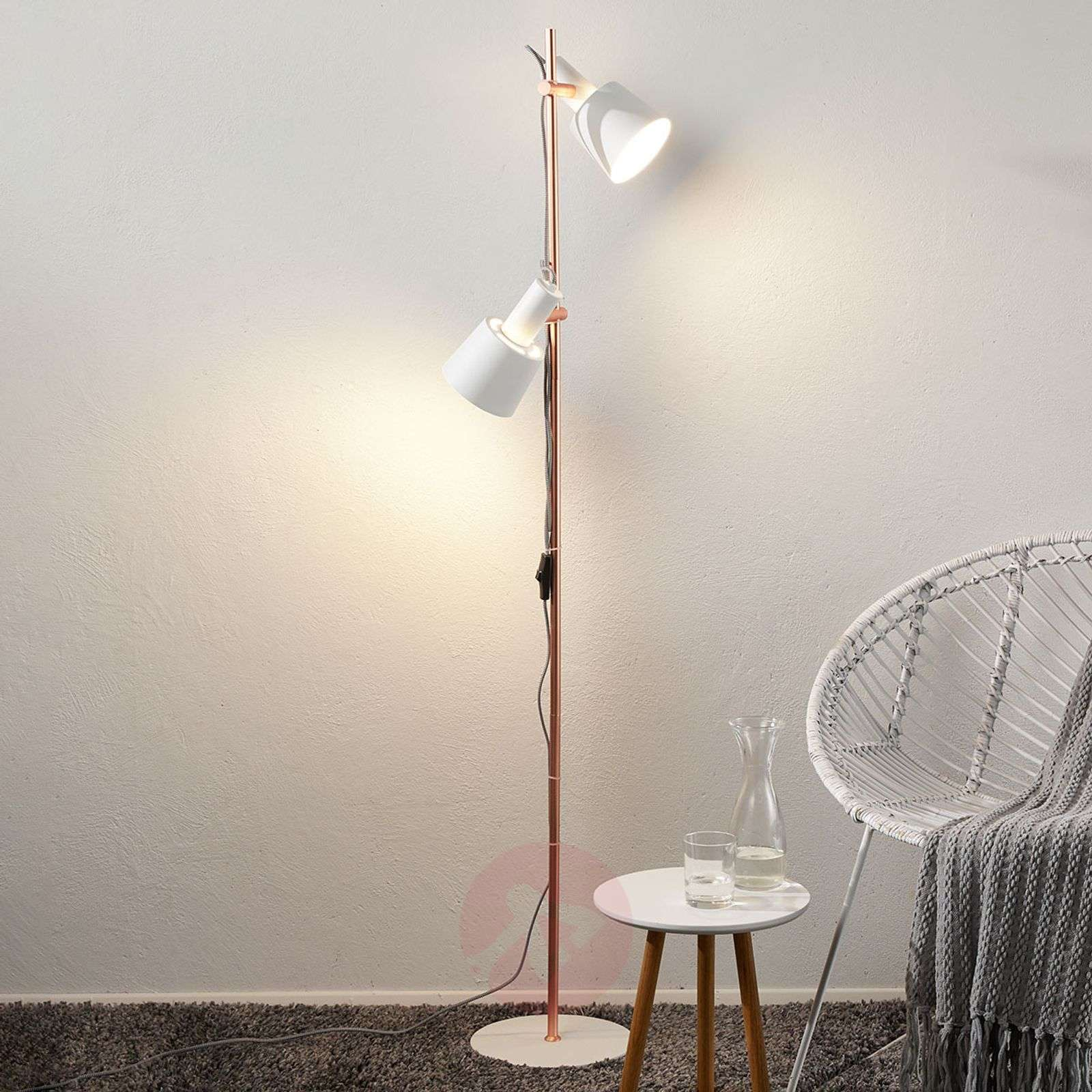 Two bulb floor lamp haldar in whitecopper lights two bulb floor lamp haldar in whitecopper 7601043 01 aloadofball Choice Image
