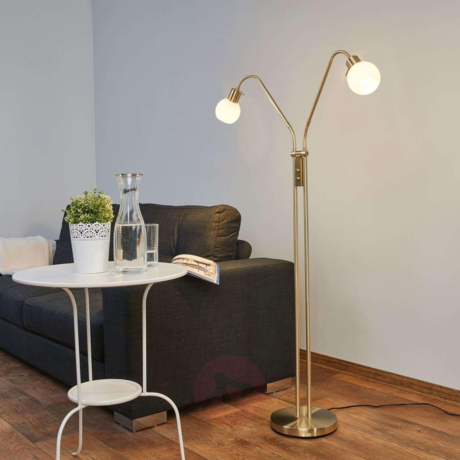 Two bulb led floor lamp elaina brass lights two bulb led floor lamp elaina brass 9620015 01 aloadofball