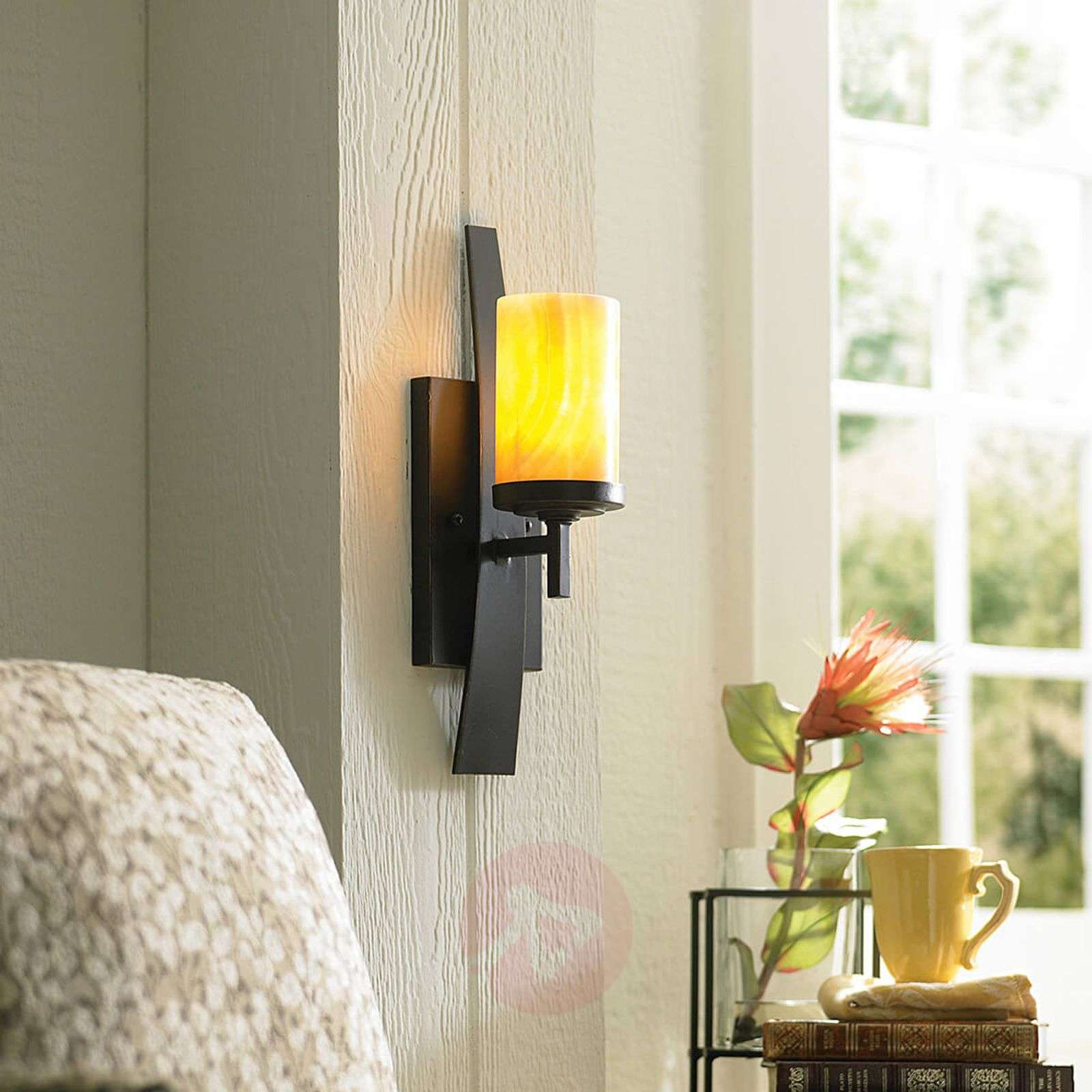 wall lamp kyle with onyx lampshade lights