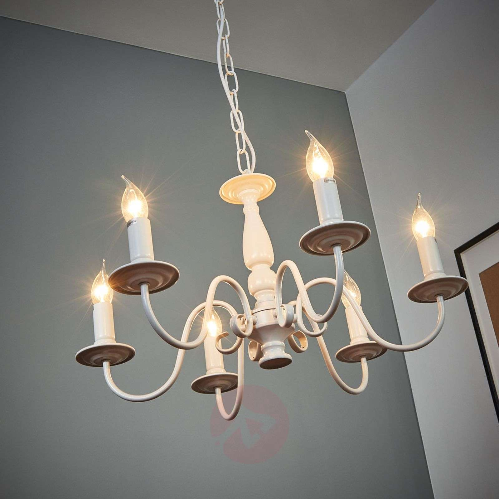 White chandelier MAYRA in country house style-1032220-01