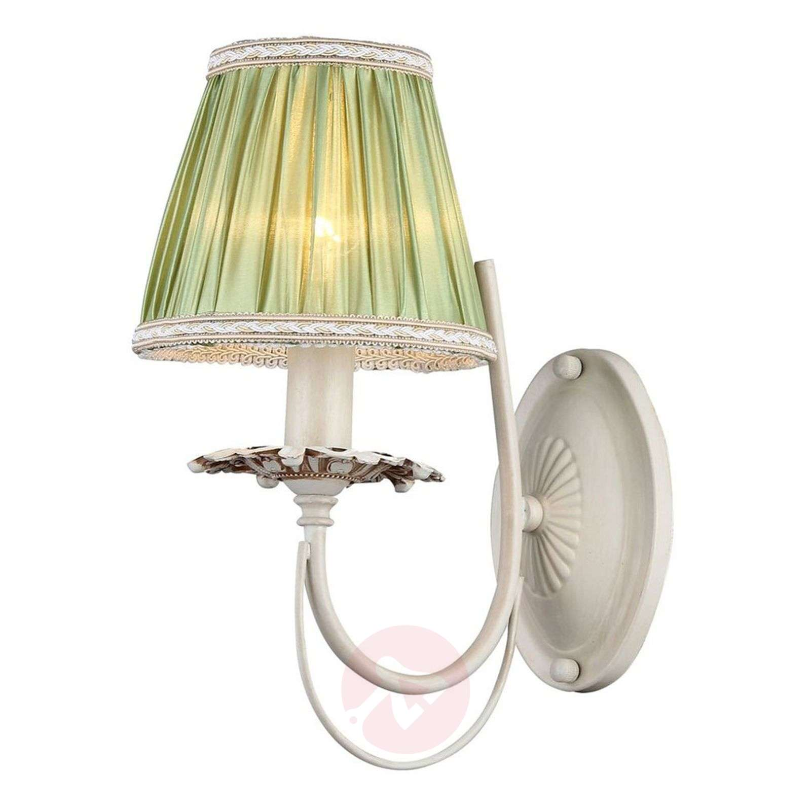 With green satin lampshade Olivia wall light Lights.co.uk