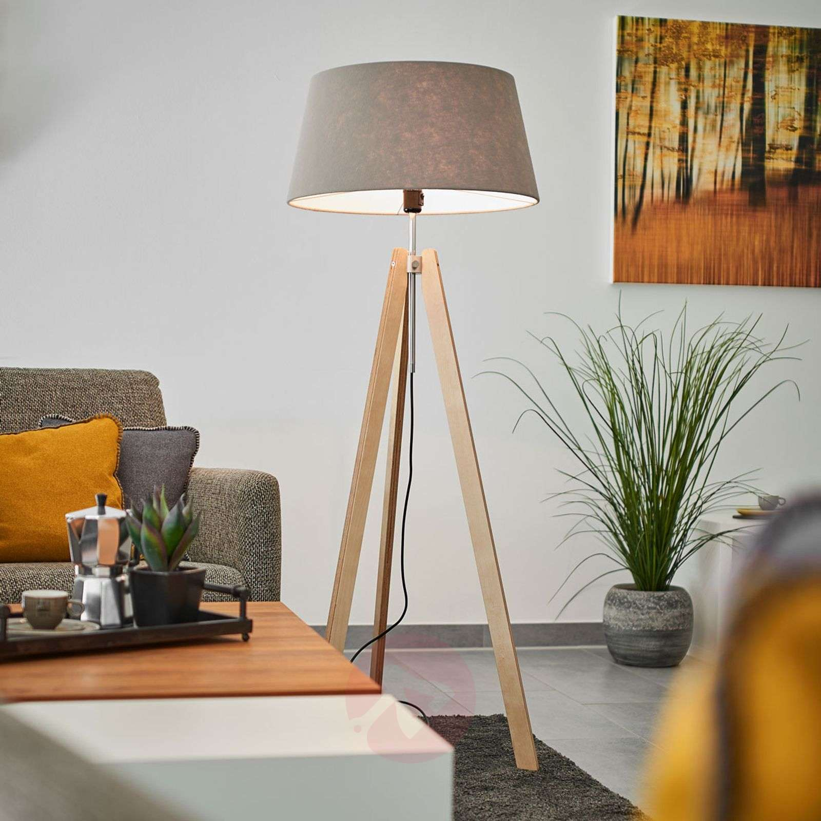 With grey felt lampshade - Thea wooden floor lamp | Lights