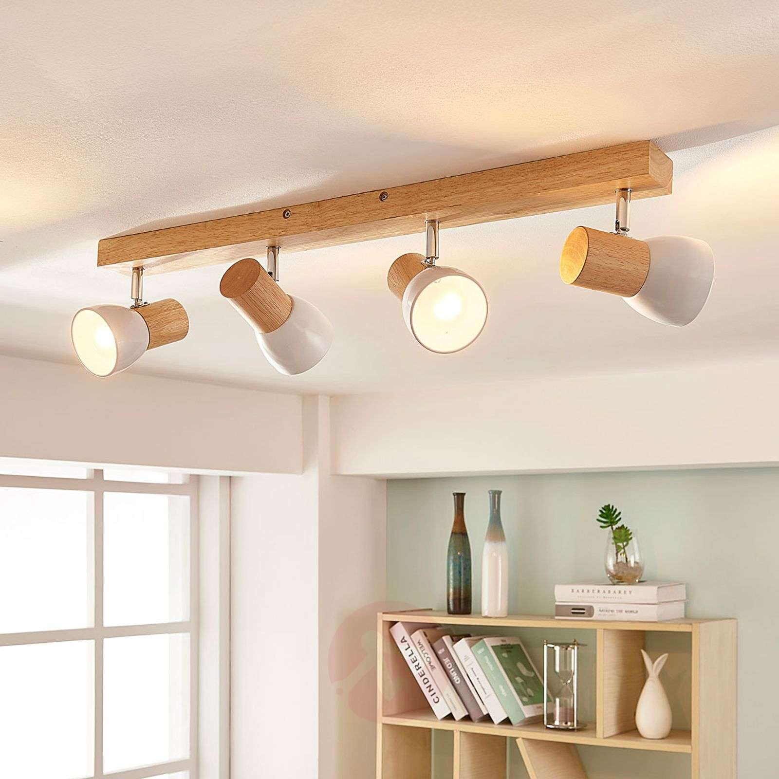 Wood Ceiling Spotlight Thorin With White Shades