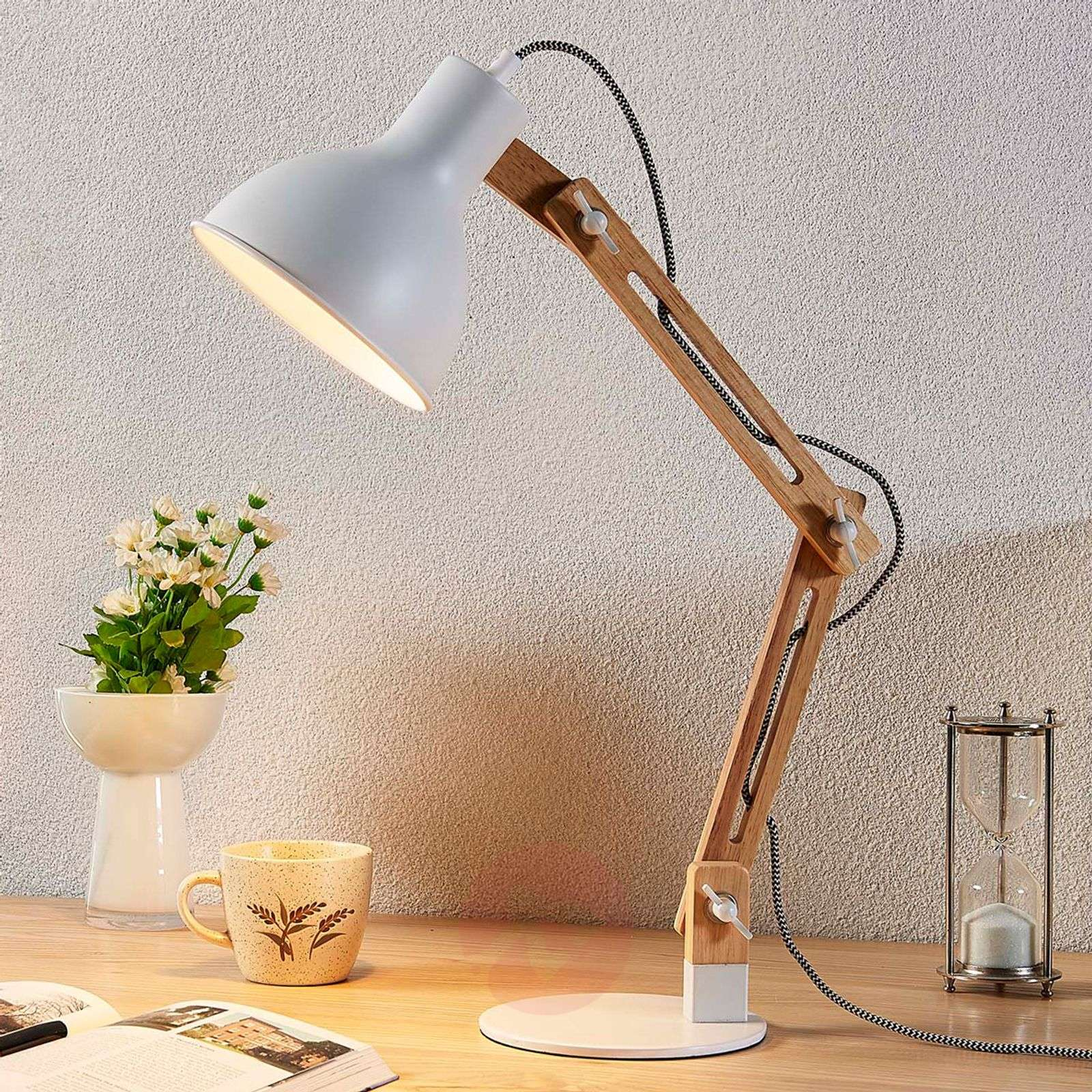 Wood Desk Lamp Shivanja With White Lampshade Lights Co Uk