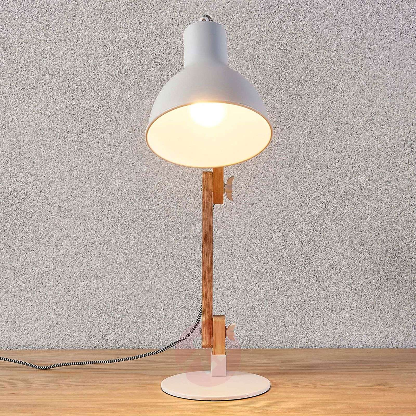 Wood desk lamp Shivanja with white lampshade | Lights.co.uk