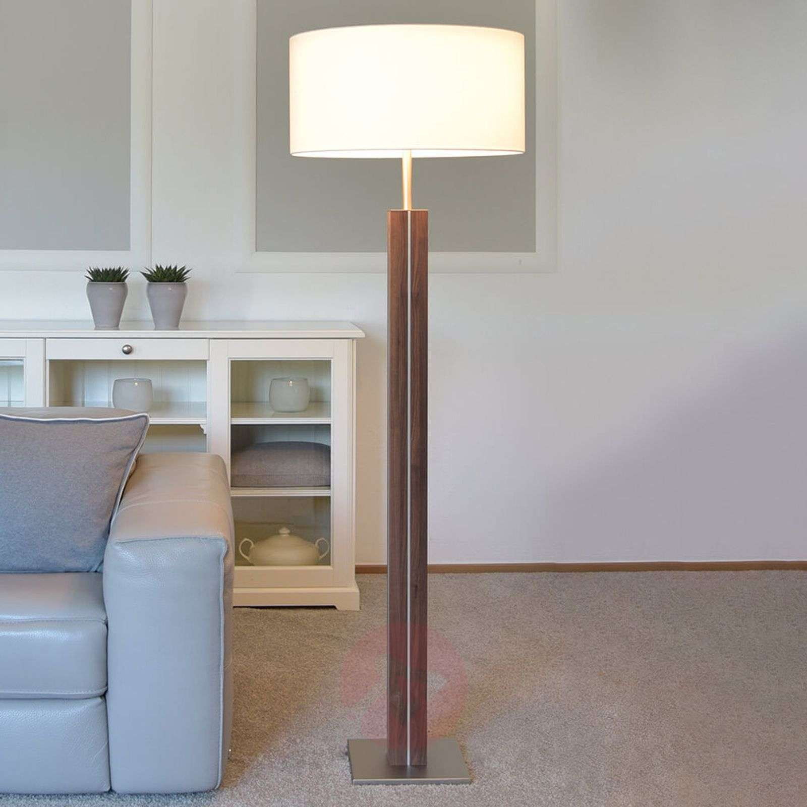 floor a lamp with blond illuminate monty white turned wood linen bhs pin shade