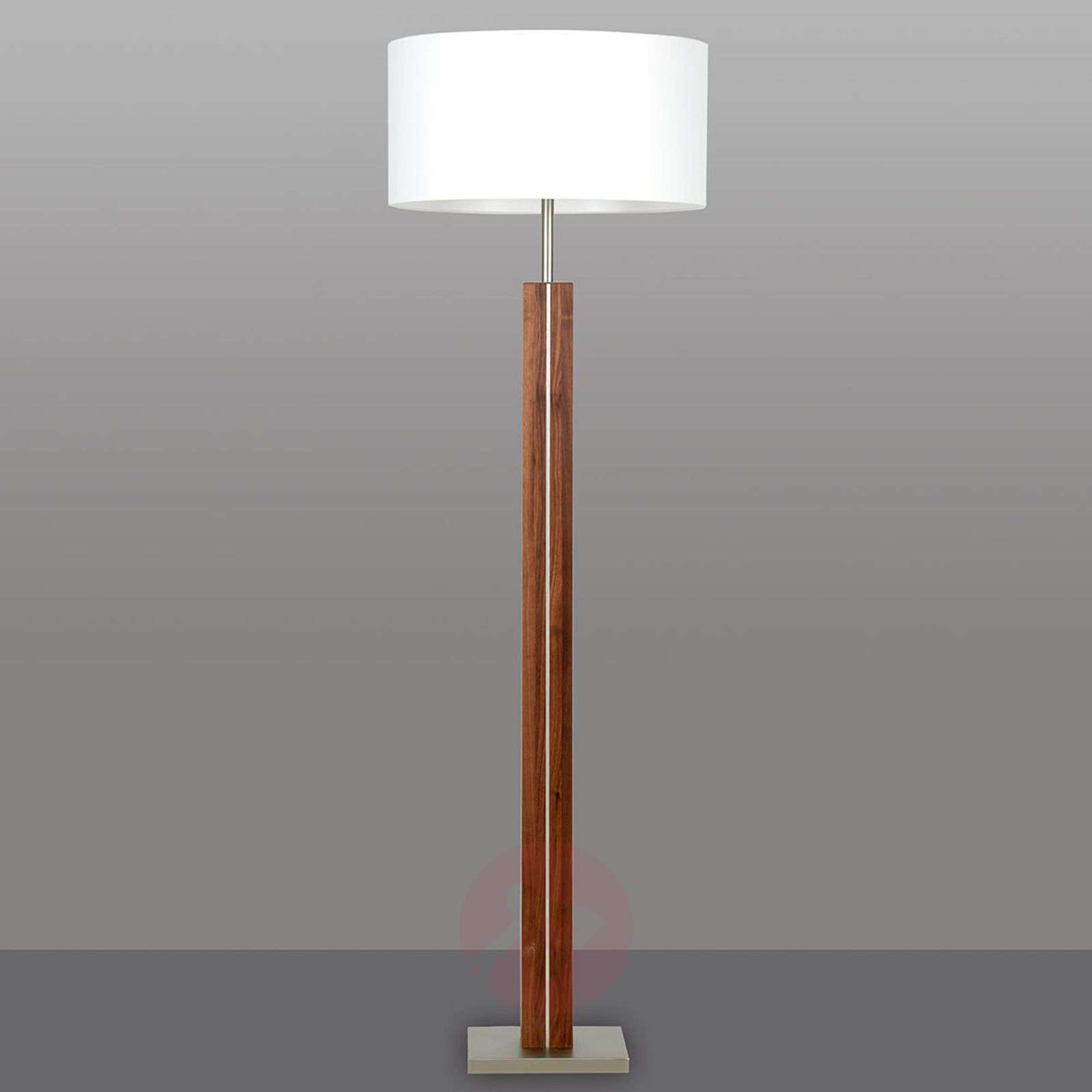 Wooden floor lamp dana with white fabric shade lightscouk for Make wooden floor lamp