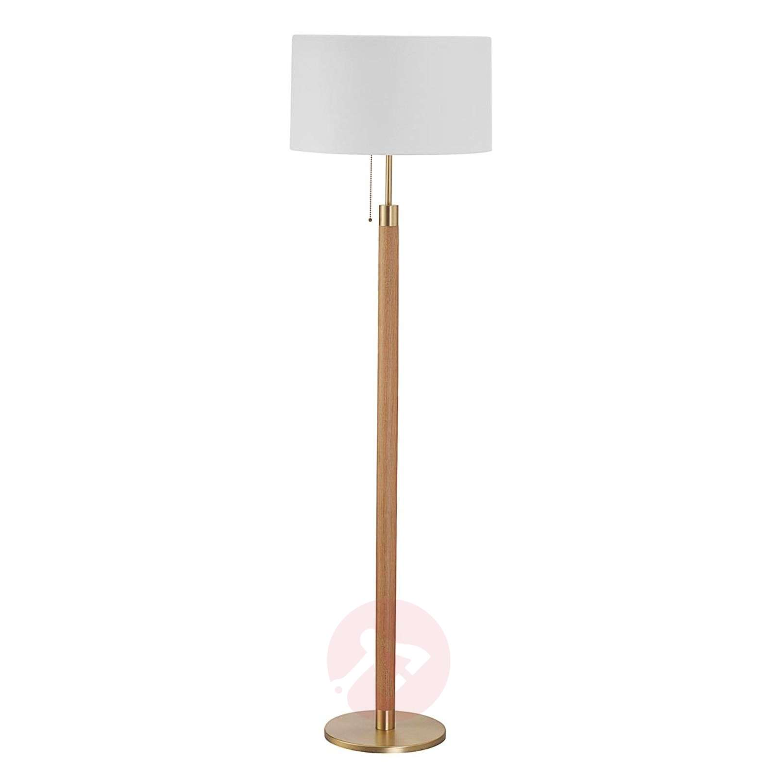 Wooden floor lamp Lignum, chintz lampshade, brass