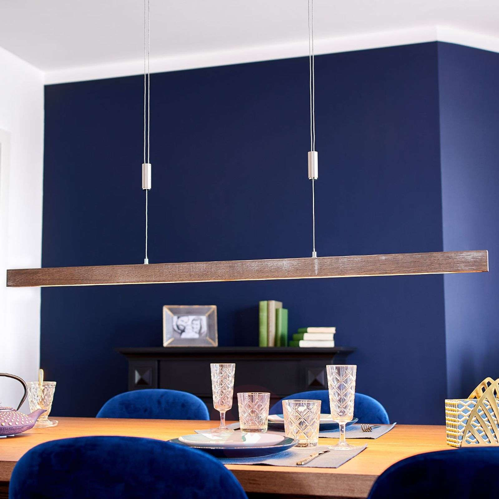 Wooden LED linear pendant light Nora, dimmable   Lights.co.uk