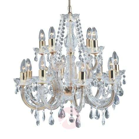 12-bulb Marie Therese chandelier, brass