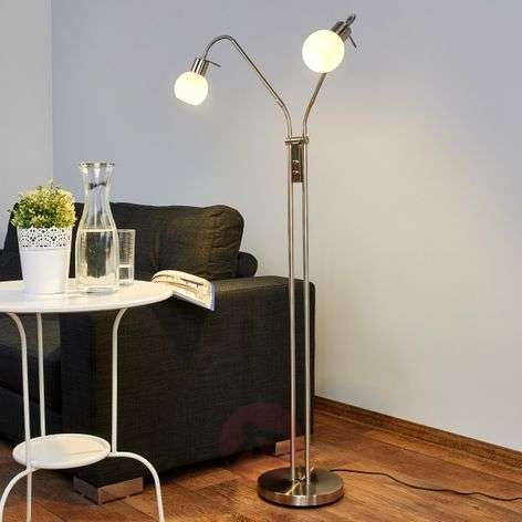 2-bulb LED floor lamp Elaina, nickel matte