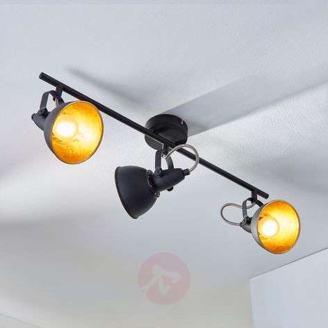 3-bulb ceiling light Julin, black and gold