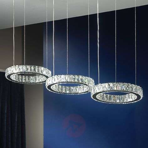 3-light, crystal hanging light Debra with LED