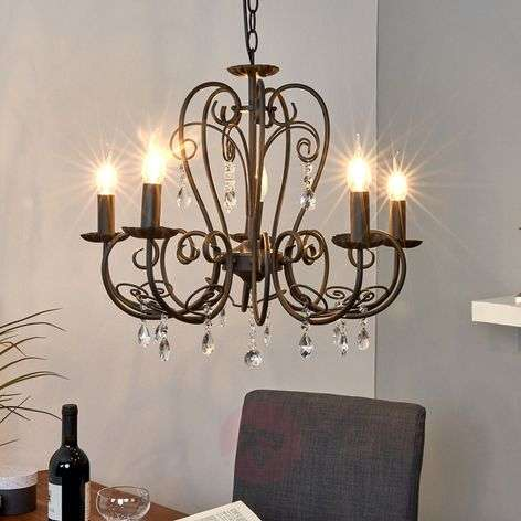 5-bulb chandelier Sophina in black