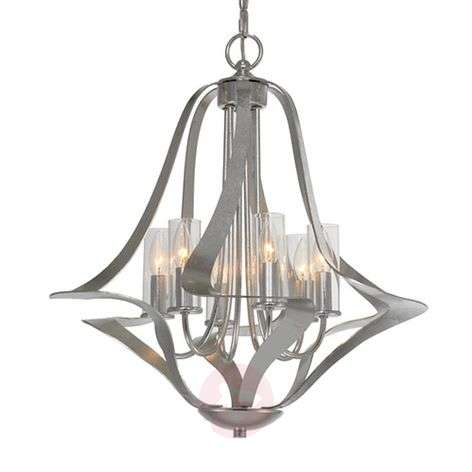 6-light chandelier Spiro with a silver leaf finish