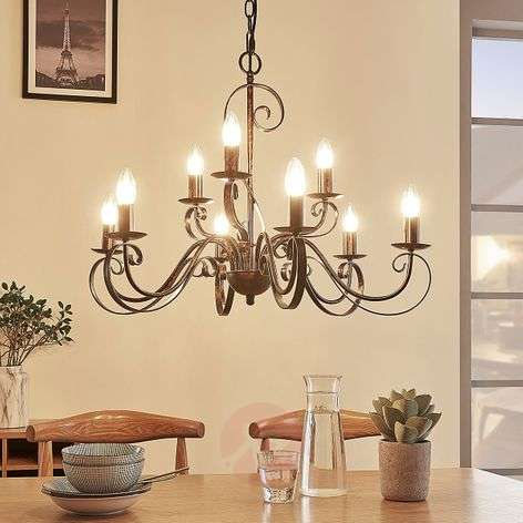 9-light chandelier Caleb in a country house style