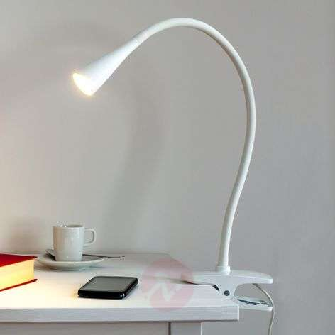 Baris, Narrow LED Clip-on Lamp in White