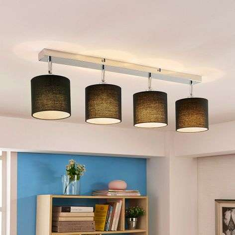 Ceiling lamp Mairi with black lampshades and LEDs