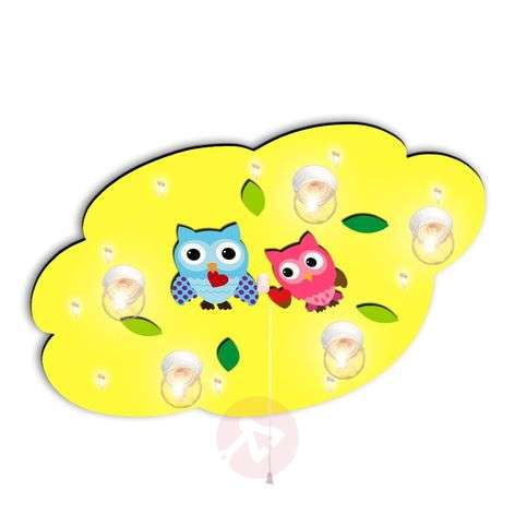 Children's ceiling light Cloud heart owls, yellow