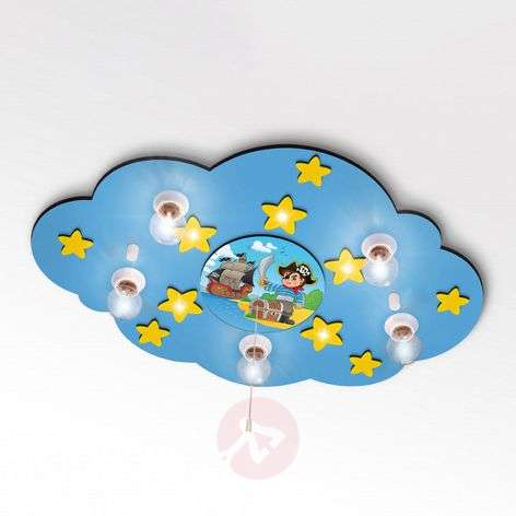 Cloud - ceiling light with pirate ship and LEDs