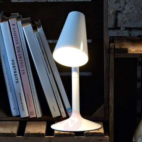 Comical LED table lamp Piculet in white