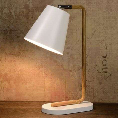 Cona table lamp with a wooden-effect frame