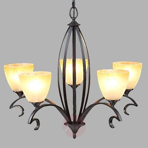 Country house chandelier Jamain with glass shades