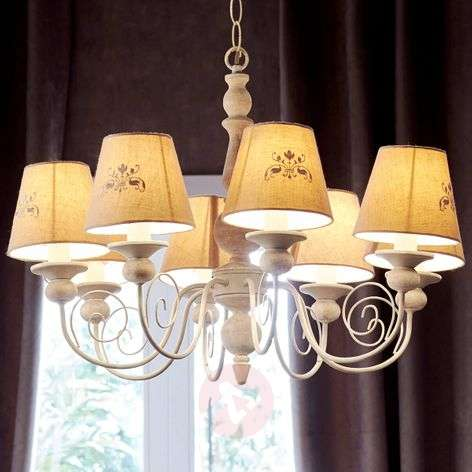 Country-house Robin chandelier with linen shades