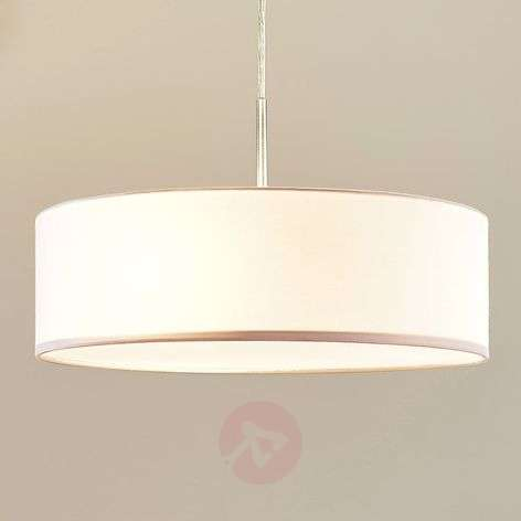 Cream coloured sebatin fabric led pendant light for Pendelleuchte oval stoff